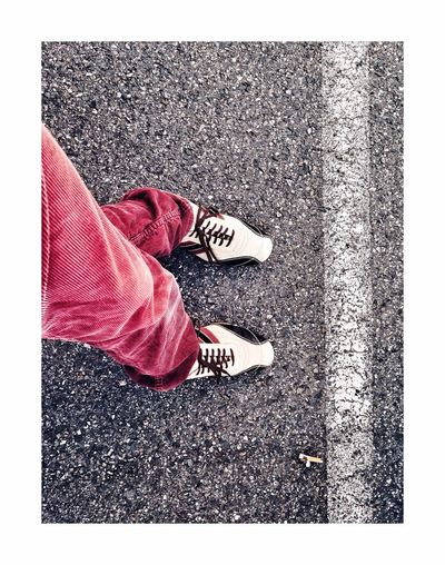 Crossing evidence Shoe Low Section Human Leg Human Body Part One Person Road Day Red Outdoors One Woman Only Adult People Adults Only