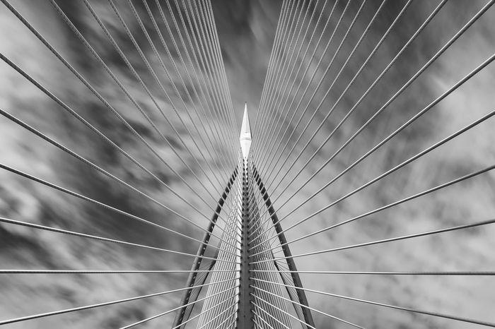Long Exposure shot of Jambatan Seri Wawasan at Putrajaya. Abstract Architecture Arts Culture And Entertainment Backgrounds Blackandwhite Bridge Built Structure Design Film Fujifilm Geometry Lee Filters Long Exposure Low Angle View Modern Pattern Pattern, Texture, Shape And Form Repetition Symmetry X Photography In Motion Black And White Friday The Graphic City The Architect - 2018 EyeEm Awards