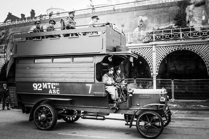 Commercial Land Vehicle London To Brighton Black And White Photography Edit Transportation Outdoors Mode Of Transport Land Vehicle Day No People