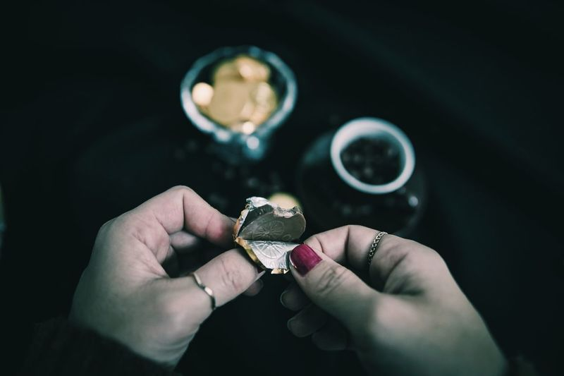 Chocolate Human Hand Hand One Person Human Body Part Ring Jewelry Holding Real People Focus On Foreground Indoors  Personal Perspective Finger Art And Craft Close-up Body Part Human Finger Lifestyles Adult Men Human Limb