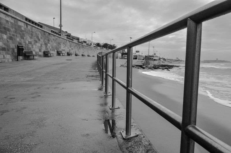 Beach Carcavelos Portugal Blackandwhite Clouds And Sky Diminishing Perspective Perspective Railing Sea_collection Seascape The Way Forward Walking Blackandwhitephotography Blackandwhite Photography Black&white Black & White Black And White Black And White Photography
