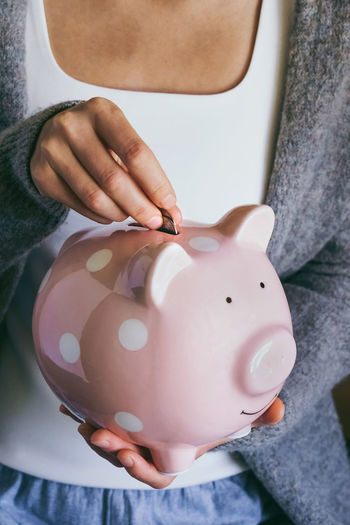 Piggy bank.  saving money for household payments, bank bills, family budgets, making investments.