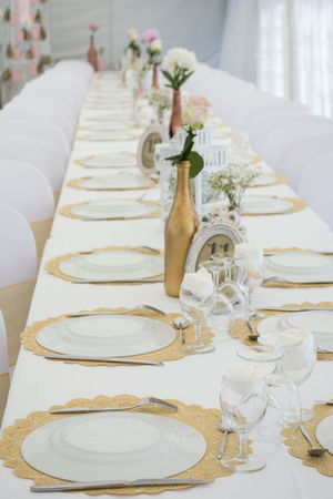 Wedding Arrangement Celebration Close-up Day Decoration Dining Table Elégance Food Food And Drink In A Row Indoors  Large Group Of Objects Luxury Napkin Neat No People Place Setting Plate Table Variation Wedding Wedding Cake White Color