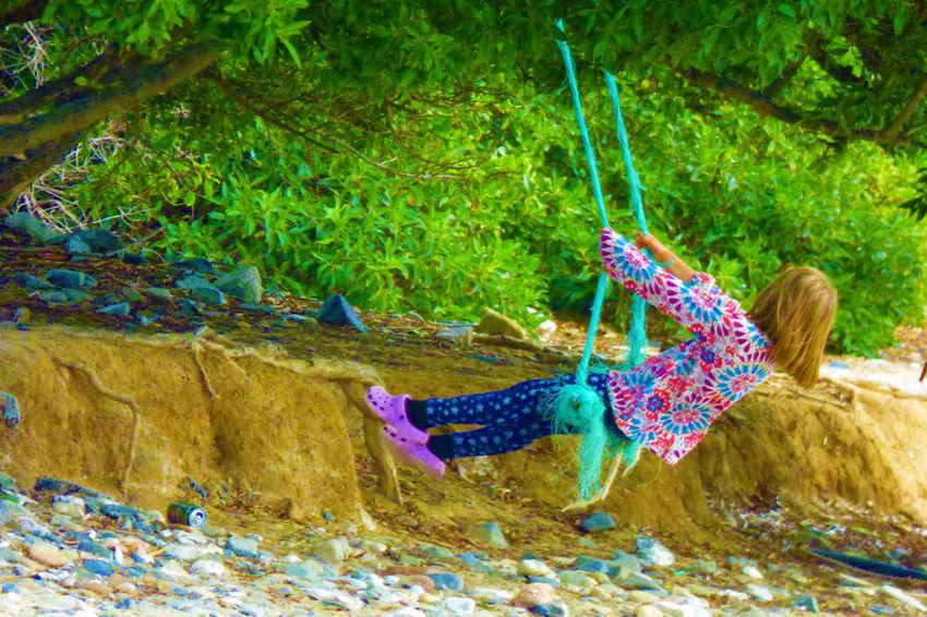 Girl Swinging Day Full Length Nature Outdoors Swing Tree