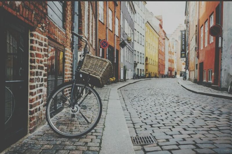 Copyed and editing Transportation Bicycle Building Exterior Architecture Built Structure Brick Wall City Transportation Cobblestone Mode Of Transport Stationary No People Outdoors Day