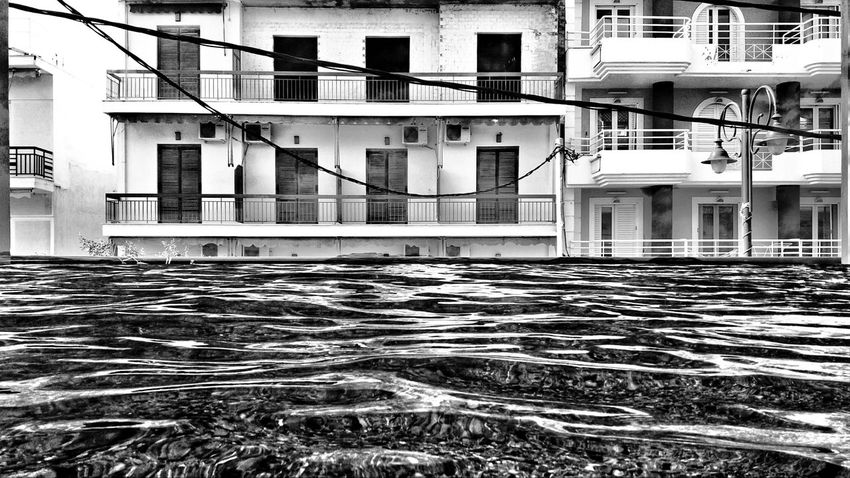 EyeEm Black And White Blackandwhite Photography Water City Cable Residential Building Architecture Building Exterior Built Structure