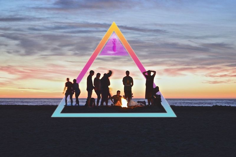 Friends Nature Social Geometry @beach Ocean Sea Triangle Water Fun Fire Fruit