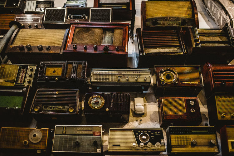 Retro Styled Technology Music Indoors  Old No People Choice Large Group Of Objects Obsolete Audio Equipment Radio Still Life Equipment Variation Backgrounds Antique Full Frame Close-up Musical Equipment
