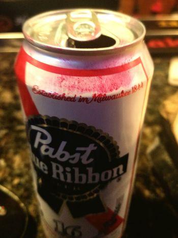 Pretty girls drink beer Drink Pabstblueribbon Lipstick ♥ Red Lips Refreshing :) PBR Time!