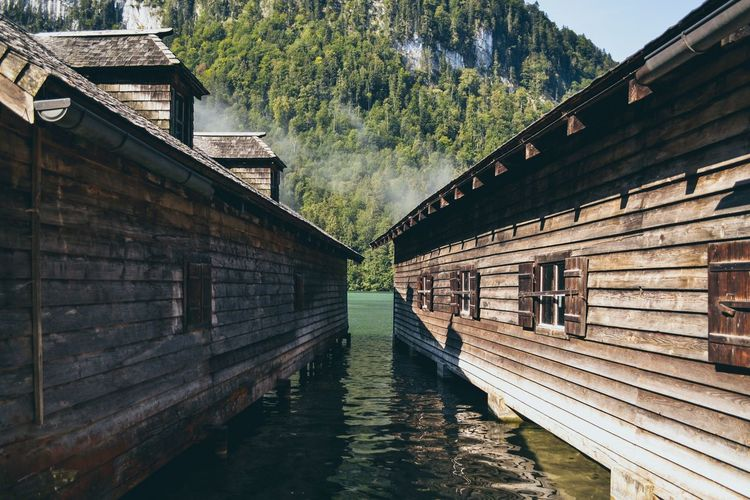 königsee lake houses Germany Alps Lake Built Structure Architecture Water No People Building Exterior Day Nature Outdoors Diminishing Perspective Connection Waterfront Building Wood - Material Reflection Plant Tree Canal
