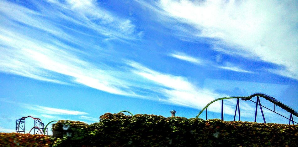 Amusement Park Rides Clouds And Sky Cloud Porn Highways And Byways View From The Bus Window Feel The Journey Highway 80 Freeway Landscape Taking Photos ❤ Blue Sky And Clouds Eye4photography  Freeway Scenery Highway Photography Trees Roller Coaster Structure Amusement Parks Six Flags Discovery Kingdom, Vallejo, CA Vallejo California Six Flags Roller Coaster Ride This Week On Eyeem