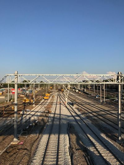 Railway reconstructions Reconstruction Zwolle EyeEm Selects Sky Clear Sky Transportation Copy Space Nature Sunlight Shadow Day The Way Forward Railing Connection Built Structure Metal Bridge Architecture Direction Blue