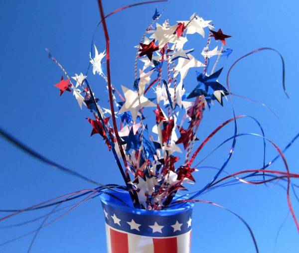Red White And Blue Independence Day Decoration Red Color Blue Color White Color Stars And Stripes Blue Clear Sky Sky