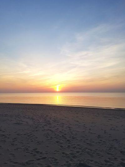 Sanset The San Rampage  Water Sea Sunset Beach Low Tide Horizon Sand Blue Sun Awe Romantic Sky