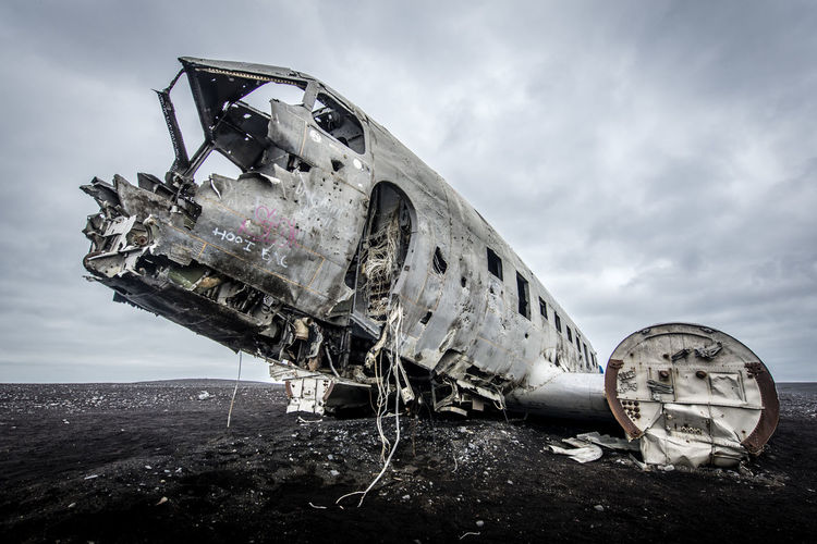 Plane Iceland Abandoned Accidents And Disasters Air Vehicle Airplane Broken Cloud - Sky Damaged Day Decline Demolished Destruction Deterioration Iceland_collection Land Mode Of Transportation Nature Obsolete Outdoors Ruined Run-down Sky Transportation EyeEmNewHere #FREIHEITBERLIN