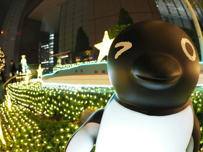 Penguin JREast Character Walking Around Relaxing From My Point Of View Streetview Nightphotography Taking Photos Night Night View Night Lights Shinkansen Wink Christmas Lights Fisheye