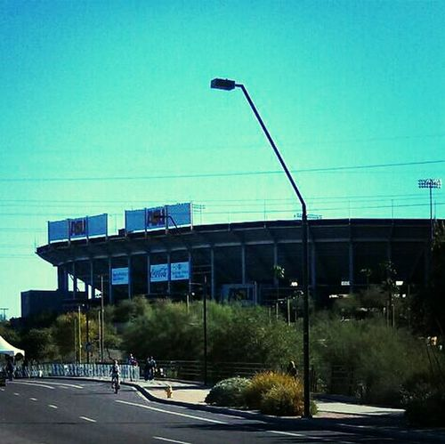 the most welcome sight: Sun Devil Stadium, the finish line.