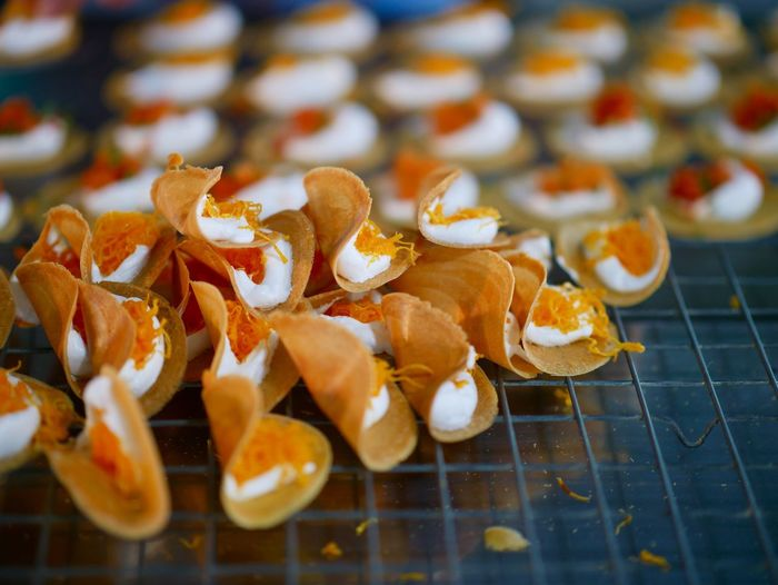 Close-up of dessert on cooling rack