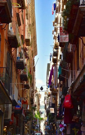 Streets of Naples 💋🎉✨ Building Exterior Architecture Built Structure City Building Residential District My Best Photo Communication Sky Outdoors No People Day Street Motor Vehicle Nature Travel Destinations Tower Car Low Angle View Sunlight Clear Sky Architecture City Mode Of Transportation Nature Transportation Hanging City Street Apartment Alley