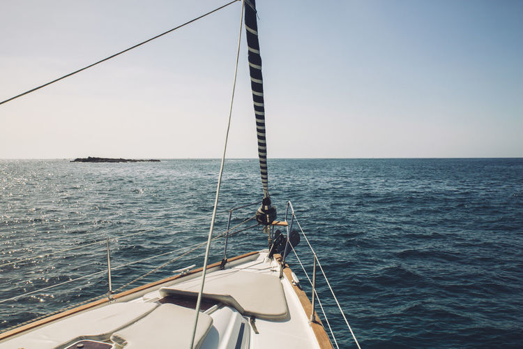 Sea Water Nautical Vessel Horizon Over Water Horizon Mode Of Transportation Sky Transportation Sailing No People Sailboat Nature Rope Day Beauty In Nature Clear Sky Scenics - Nature Travel Ship Outdoors Luxury Yacht Yachting Tenerife Boat