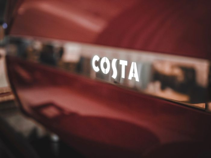 Costa cafe Drink Costa Coffee Coffee Close-up Text Communication Western Script Indoors  Technology Selective Focus No People Sign