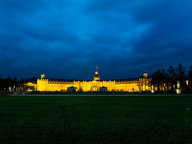 Castle Karlsruhe Blue Hour Castle Karlsruhe Schloss Architecture Baden Building Exterior Built Structure Grass History Illuminated Karlsruher Schloss Night No People Sky Tourism Travel Destinations