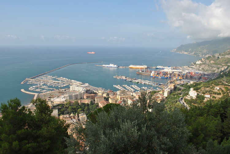 Panorama di Salerno dal castello longobardo Arechi Castello Longobardo Golfo Di Salerno Mar Tirreno Mediterranean Sea Panoramic View Porto Porto Di Salerno Architecture Castello Citta Day High Angle View Medioeval Nature Orizzonte Mare Tramonto Outdoors Porto Turistico Scenics - Nature Sea Urban Skyline Water