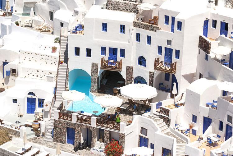 High Angle View Of Oia Village At Santorini