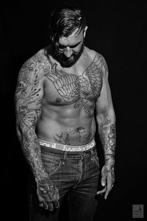 Another shot of Alan, top guy and model Buffalo Soldier Ink Low Key Male Model Male Model Tattoos Mono Chrome Muscles Tattoos Toples