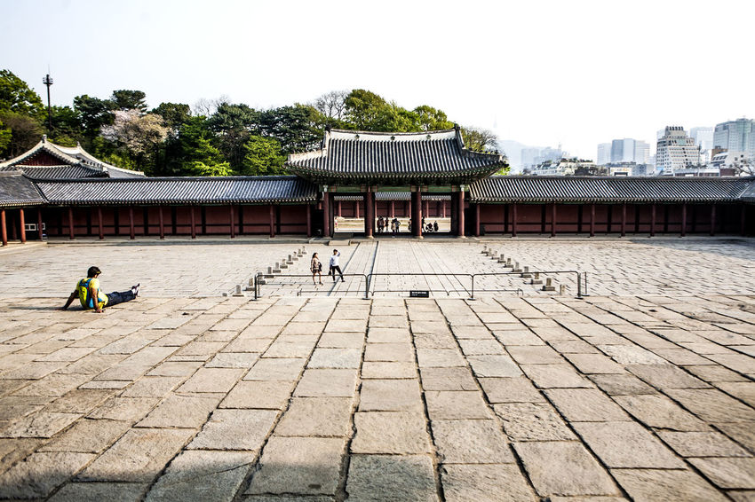 Bricks And Stones Changduk Palace Chosun Dynasty Gate Palace Palaces Pavement Square Stone Floor Taking A Rest  Tourist
