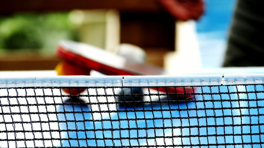 Close-up of cropped table tennis net