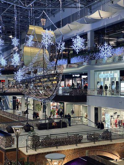 View of illuminated shopping mall