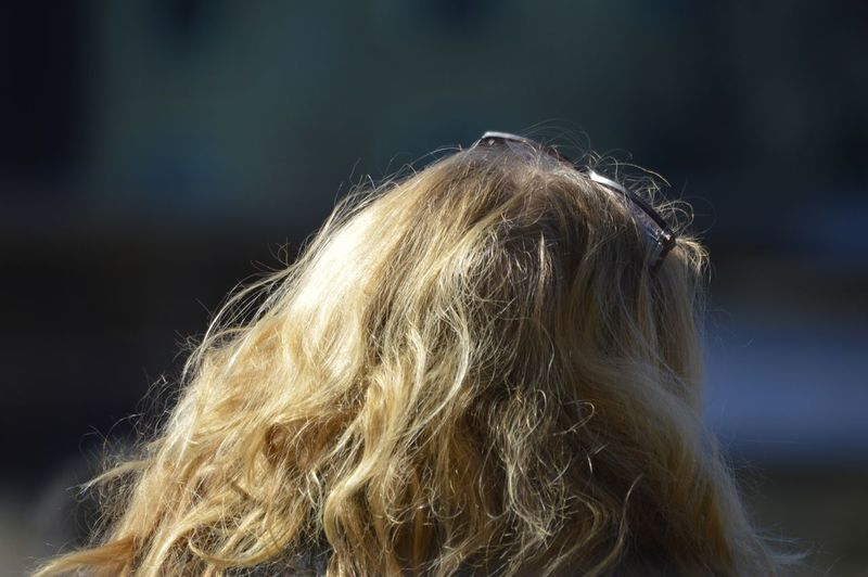 Rear view of blond woman