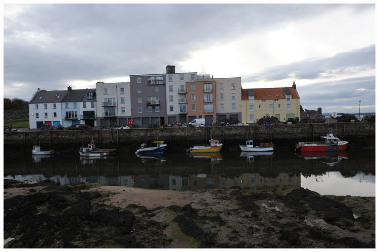 Building Exterior Reflection Water Cloud - Sky Residential Building Built Structure Beach Nautical Vessel Harbourlife Outdoors St Andrews Scotland Historic Buildings Historic Town Tourism Attractions Scenic Beauty Leisure