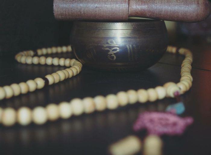 Tibetan singing bowl and mala Music Wood Metal Gold Bowl Mala Peace Buddhism Serenity Meditation Religion Life Mala Beads Singing Bowl Bowl Spritiual Spirituality OM Chanting Om Mani Padme Hum Texture Beads Happiness Metaphysical Enlightenment Backgrounds EyeEmNewHere Metaphysics Buddha Art