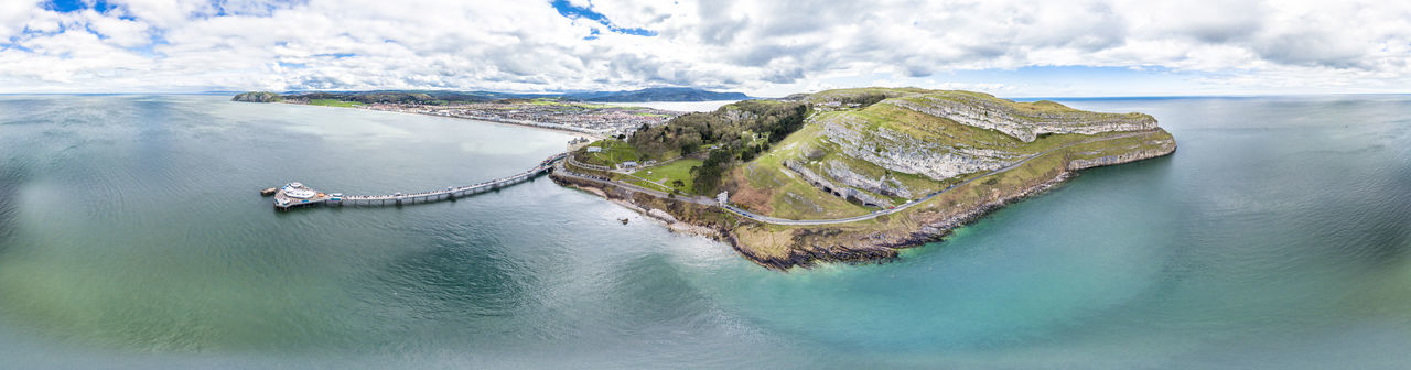Aerial view of Llandudno with pier in Wales - United Kingdom Aerial Shot Atlantic Fun Holiday Pier Promenade Tourist Attraction  Victorian Wales Wales UK Aerial Photography Aerial View Beach Historic Llandudno Ocean Sea Seaside Summer Tourist Destination Travel Destinations Wales❤ Waterfront