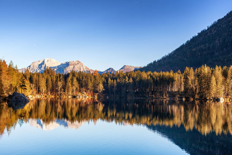 Autumn day at hintersee, a part of the municipality of ramsau near berchtesgaden.