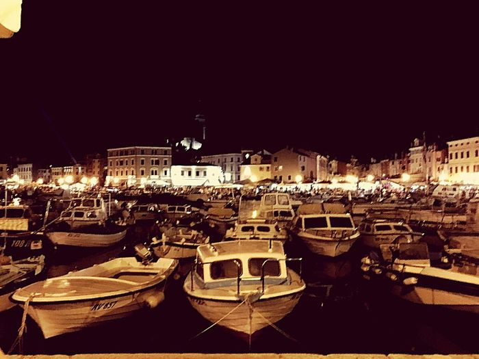Night Boat City Water Harbor Old Town Architecture City Life Sky Sea Croatia Rovinj Boulevard Evening Evening Sky Vintage Old Old Town Holiday Tourist Tourism