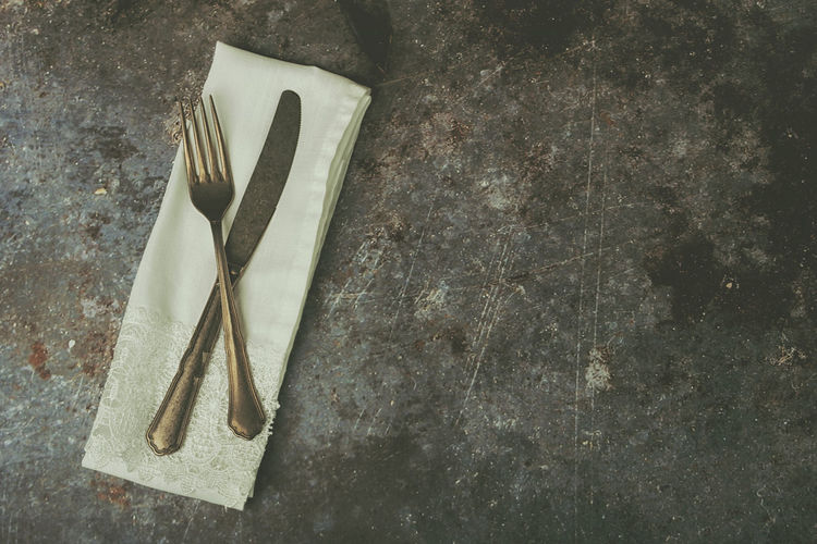 Still Life Household Equipment Table Kitchen Utensil Close-up Metal Eating Utensil Knife Cutlery Old Vintage Napkin Menu Restaurant Background Rustic Food Preparation  Knife Fork Kitchen Recipe Utensil Breakfast Ration Dinner Dinner Time Tableware Object Retro Retro Styled Silverware  Setting Lunch Catering Design Antique Set Dining Decoration