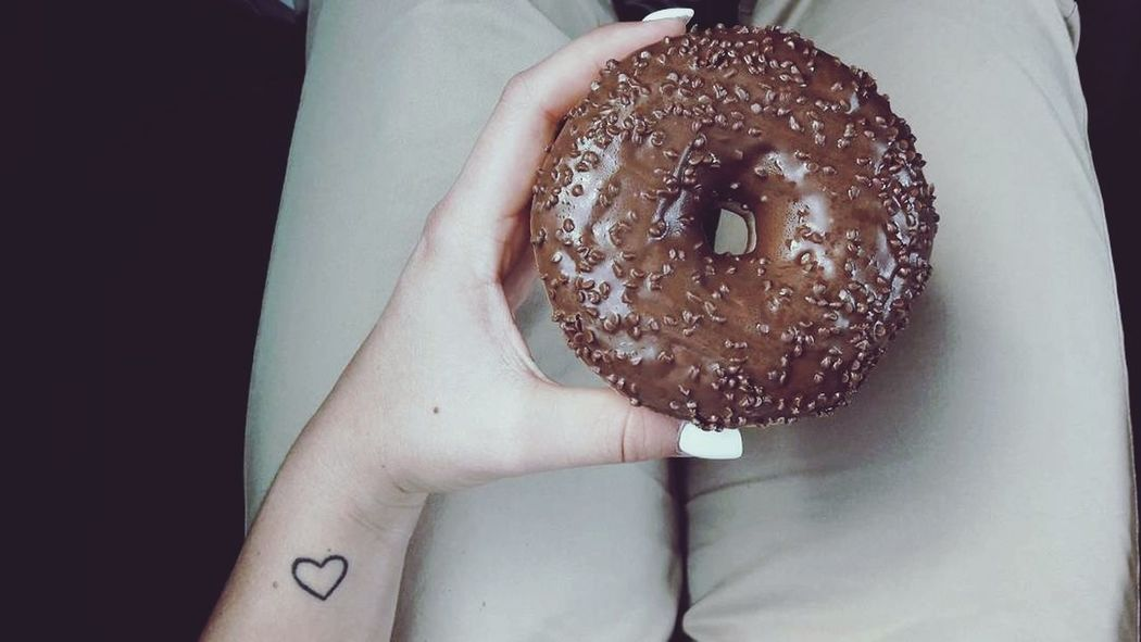 I 🍩 care. Donuts Food Photography Sweet Delicious Food And Drink Human Hand Human Body Part Love It Casual Clothing