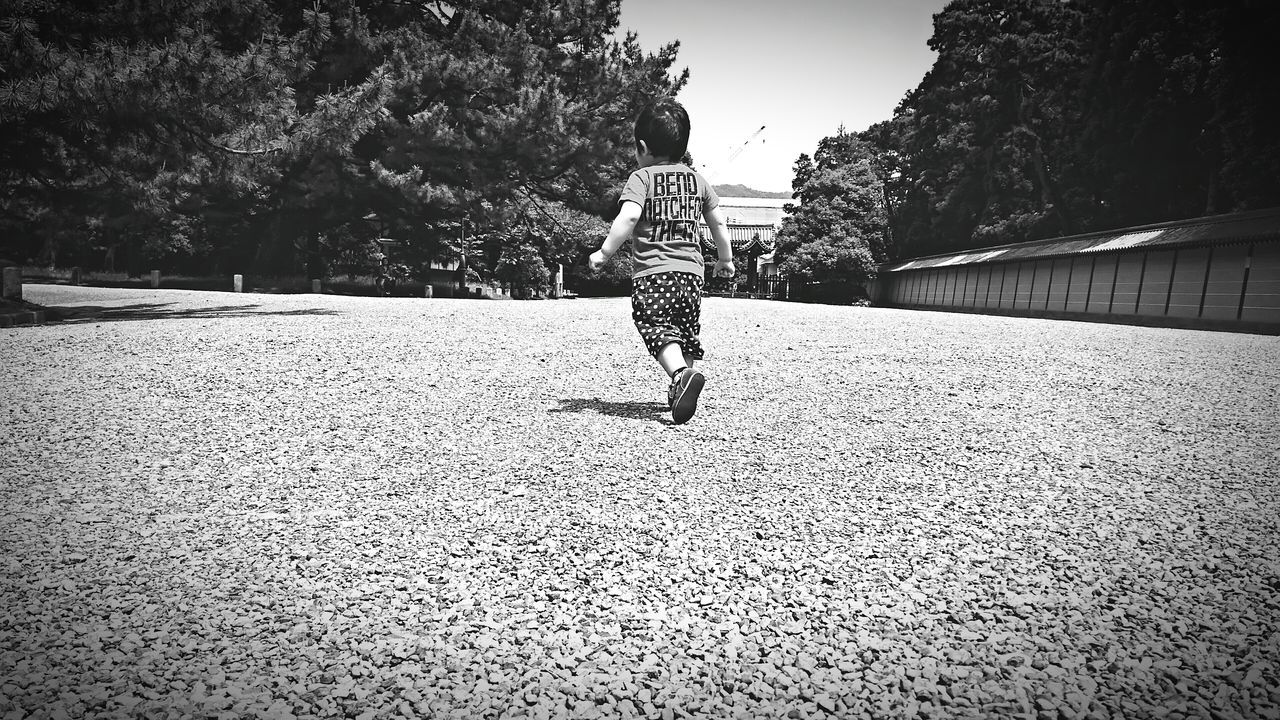 jumping, full length, mid-air, rear view, day, one person, motion, real people, outdoors, tree, running, energetic, fun, childhood, leisure activity, lifestyles, nature, people