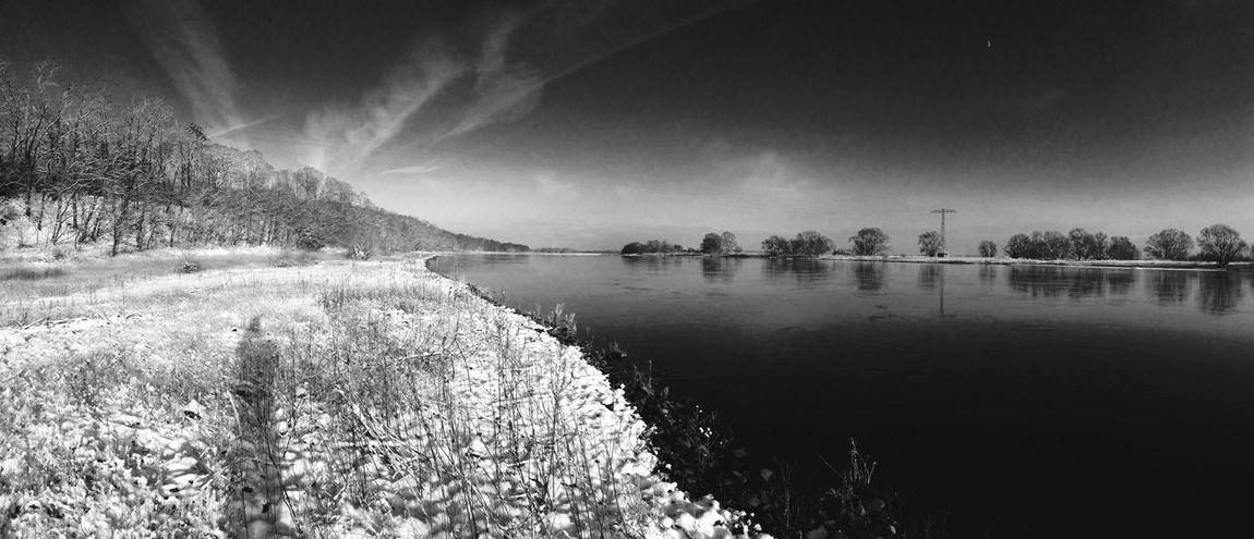 Elbe Panorama Snow Black And White Blackandwhite