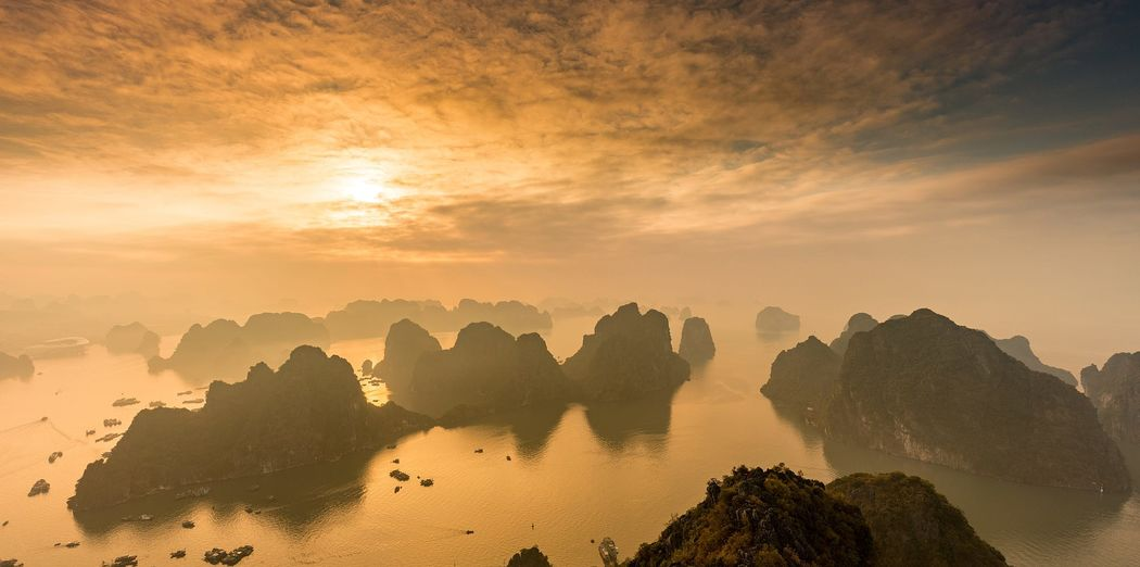Panoramic view of ha long bay during sunset