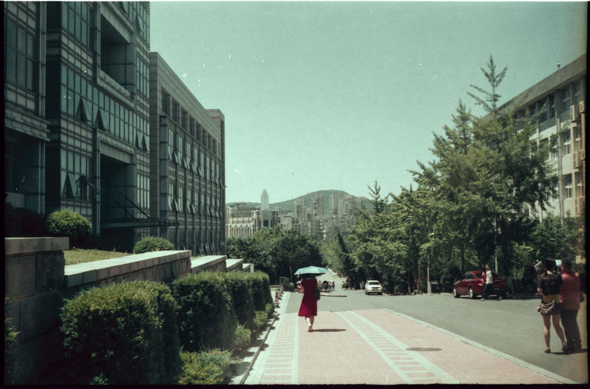 Analogue Photography Back Building Exterior Built Structure Lone Walker One Girl Only One Person One Woman Only Outdoors Real People Rear View Road Sky Sun Umbrella Tree University Campus Walk