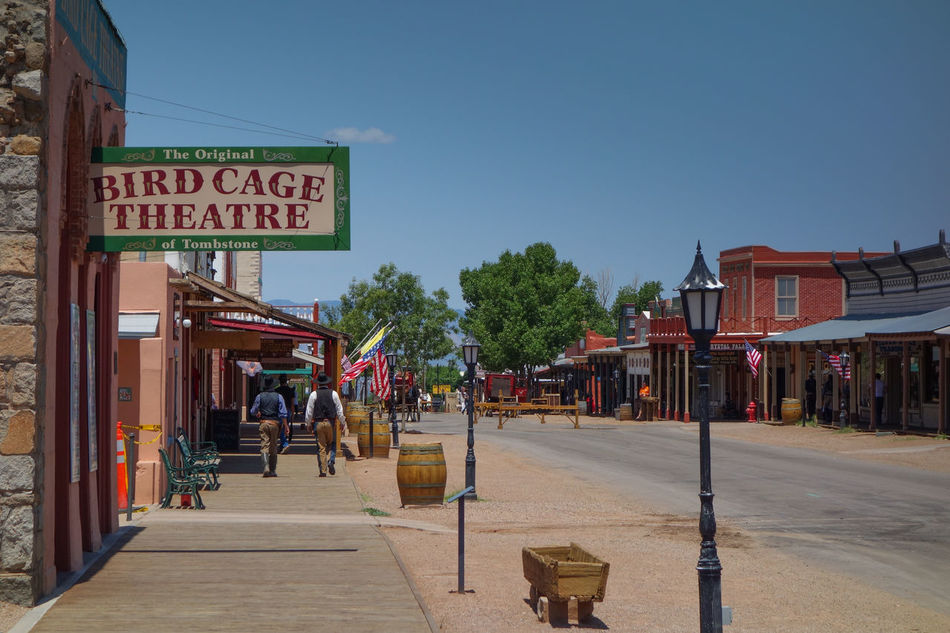 Architecture Arizona Birdcage Building Exterior Cowboy Horse Carriages Outdoors People Sky Store Theatre Tombstone Travel Travel Destinations