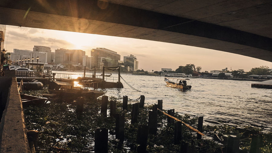 Bridge Over River Chao Phaya River Cityscape River River Boats River Boats Brid Urban Skyline