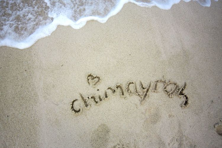 "Sandwriting ""chimayrah"" Love Beaches Mauritius"