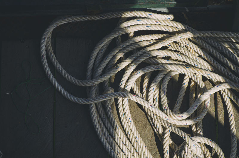 High angle view of rope on table
