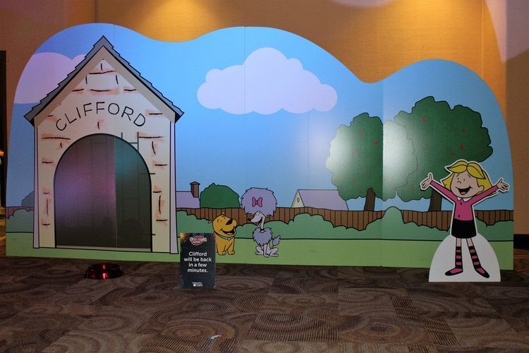 Cutout wall of Clifford the dog's house and friends Architecture Art Art And Craft Built Structure Cliffords House Creativity CutOut Design Graffiti Home Interior Indoors  Pattern Spirituality Wall Wall - Building Feature Window