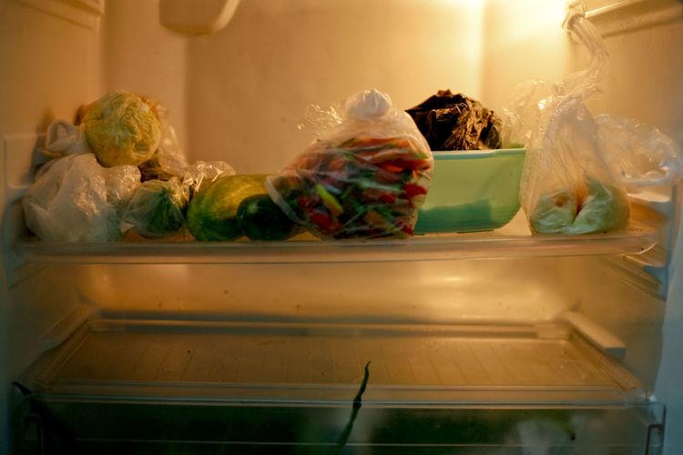 Close-up of food on refrigerator